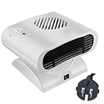 Chengstore Heating & Cooling Dual Use Mini Rotary Adjustable Thermostat Air Conditioner Ceramic Fan Heater
