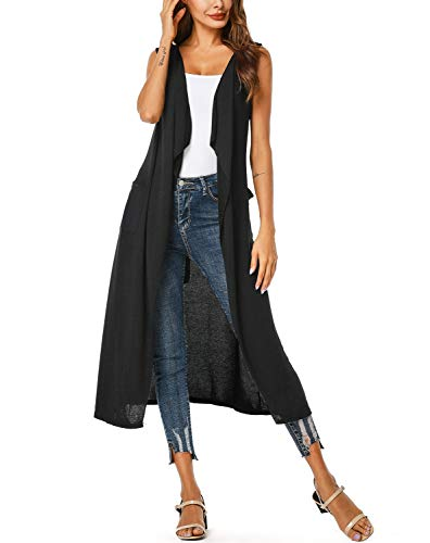 ZEGOLO Women's Long Open Front Cardigan Vest Drape Lightweight Duster Maxi Sleeveless Cardigans with Pockets & Belt Black Small