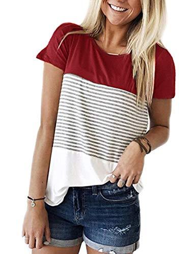 (Doris Kids Women's Casual Short Sleeve Tunic Top Sweatshirt Color Block Stripe T-Shirt Blouse Wine Red M)