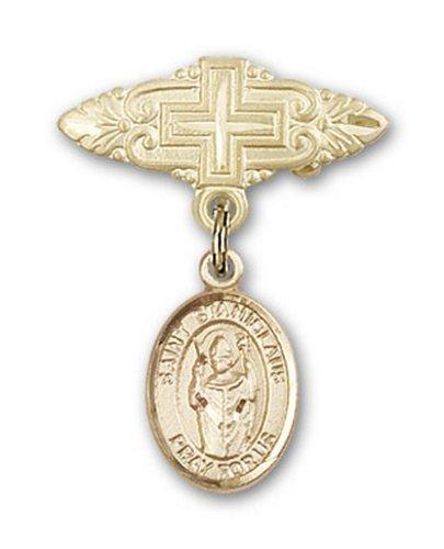Icecarats Or Bijoux De Créateurs Rempli R. Stanislaus Broche De Badge Charme Avec Une Croix X 3/4
