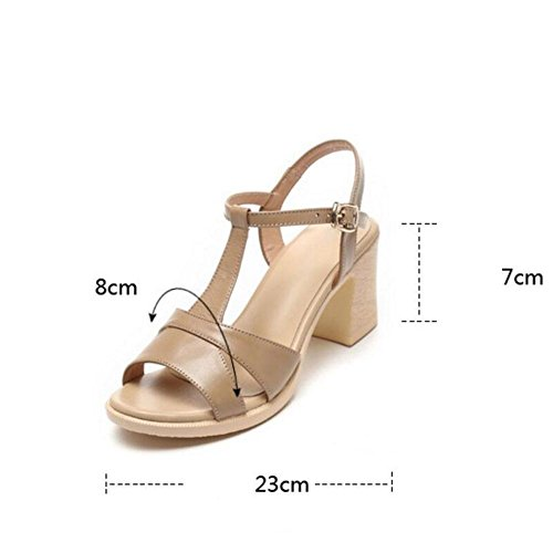 Girls L@YC Women'S Sandals High Heeled Fish Mouth Summer Leather Non Slip Casual Rough Soft Bottom Dress Women'S Shoes , brown , 36