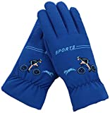 FULIER Boy Girl Winter Cold Weather Warm Casual Cute Plush Lining Gloves For Kids (Blue)