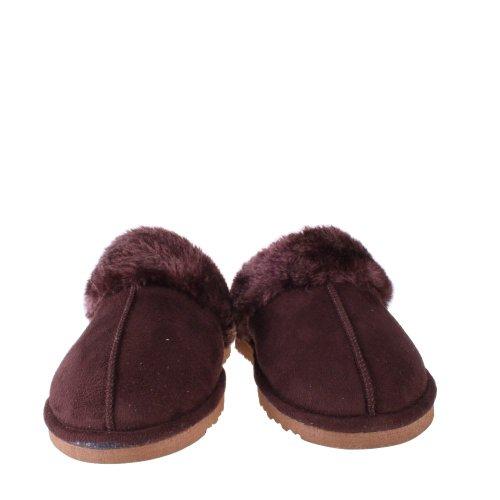 5 Brown Slippers Ladies DUNLOP Sude Faux Fur SARAH Lined Mule on Slip nPHAfxHT