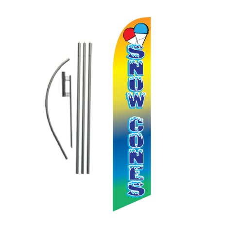Snow Cones 15ft Feather Banner Swooper Flag Kit - INCLUDES 15FT POLE KIT w/GROUND SPIKE