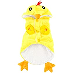 SMALLLEE_LUCKY_STORE Small Dog Chick Costume Fancy Dress Pajamas for 20 lb Cats and Dog Puppy, X-Small, Yellow