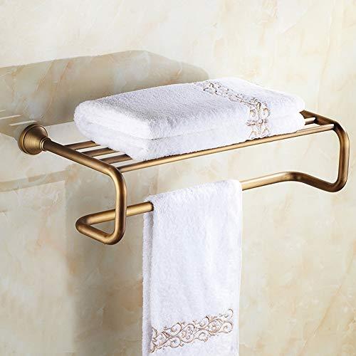 (BAIVIT Minimalist Bath Towel Rack Bathroom Wall Mounted Copper Hand-Brushed Towel Bar Thick Shelf for Family Hotel)