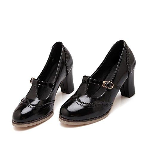 Allhqfashion Para Mujer De Cuero De Charol Sólido De Tacones Altos Ronda Cerrado Hebilla De Puck-zapatos Negro