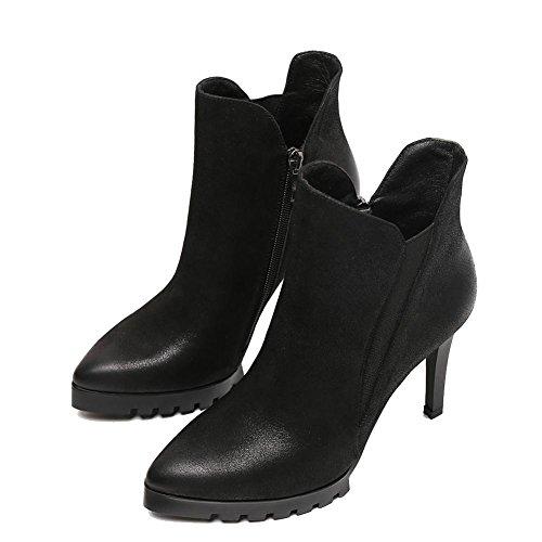 Retro Mujer Delgado Alto Talones Martín Botas Corto Cuero Lado Cremallera Calentar Bajo Tobillo Zapatos . Black . 36