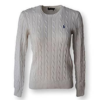 fb1f2427bb9822 Ralph Lauren Polo Women's Cable Knit Crew Neck Jumper Navy Cream (small ,  Cream) ... ...: Amazon.co.uk: Clothing
