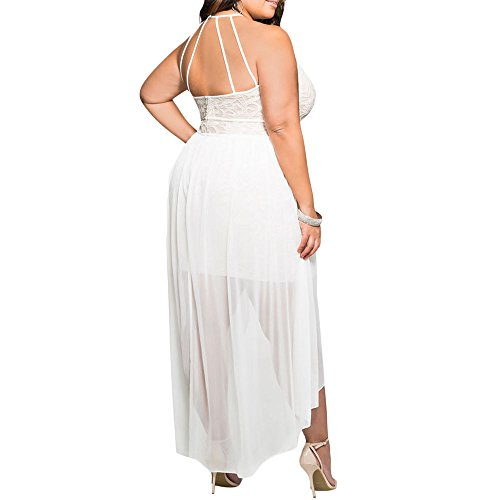 Cheap 8818 Plus Size Hi Low Lace Overlay Halter Cocktail Wedding