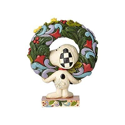 "Enesco 6000984 Peanuts by Jim Shore Snoopy with Woodstock Wreath Figurine 5.75"" Multicolor"