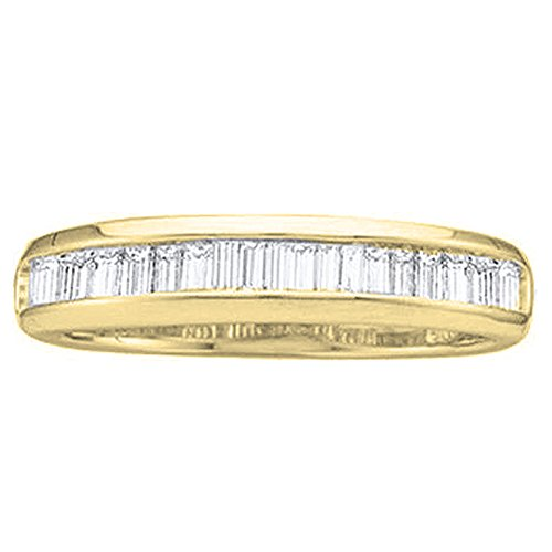 Dazzlingrock Collection 0.13 Carat (ctw) 14K Baguette Diamond Ladies Wedding Band Stackable Ring, Yellow Gold, Size 6.5