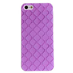 GONGXI Purple Check Pattern PC Hard Case with Transparent Frame for iPhone 5/5S