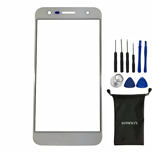 sunways Outer Glass Lens Screen Replacement for LG X power2 X500 X Charge M320G(White)