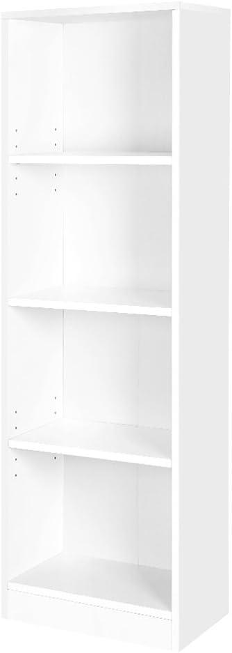 VASAGLE Estantería para Libros con 4 compartimientos, Librería, Estantes Regulables, Estante Blanco LBC104W