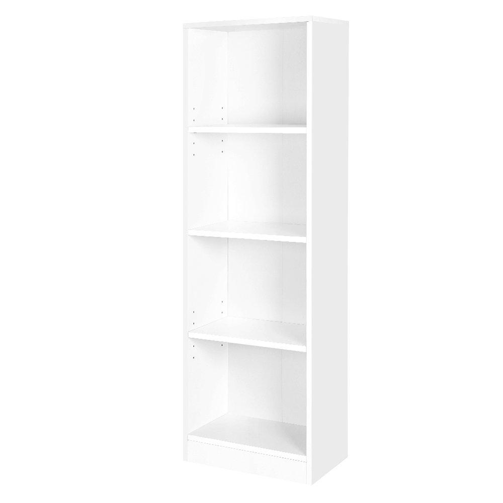 SONGMICS Estantería para Libros con 4 compartimientos, Librería, Estantes Regulables, Estante Blanco LBC104W