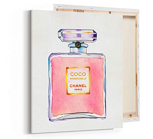 Fashion wall pop art print - Illustration - Perfume Pink - Chic Glam Vogue poster on Fine Art Canvas 1054 (Coco Chanel Shirt For Girls)