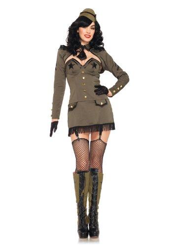 Leg Avenue Women's 5 Piece Pin Up Army Girl Costume, Khaki, Medium