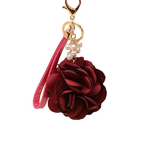 - preliked Fashion Cloth Rose Faux Pearl Keychain Handbag Charm Car Key Ring Pendant (Wine Red)