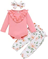 URMAGIC Baby Girl Long Sleeve Cotton Rompers + Flowers Pants Trousers with Headband Clothing Set
