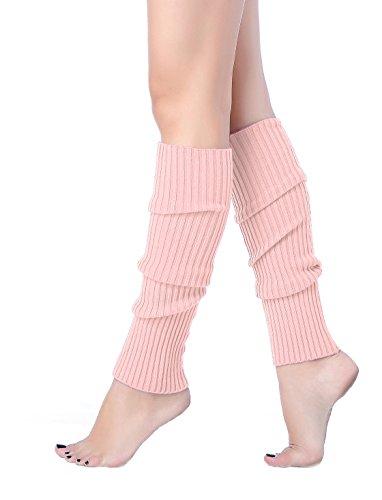 V28Women Winter 80s Eighty's Warm Leg Warmers Knitted Long Socks (one size, Pink)