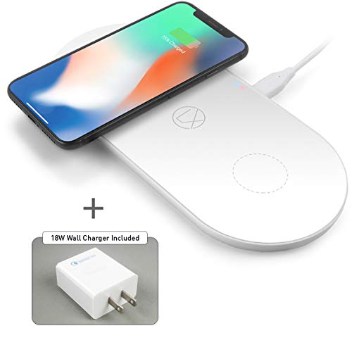LXORY Dual Wireless Charging Pad - Double Qi Fast Charger for Two Phones (9W/Pad) Compatible with iPhone X/8, Samsung Note9/8/5,S9/S8/S7 + All Qi Ready Phones - USBC Charging Mat 18W Adapter Incl.