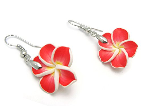 (CHADADA Hawaiian Fimo Plumeria Flower Dangle Earrings Handmade, 20 mm (Red), EH18)