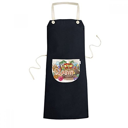 cold master DIY lab Prado Seafood Spain Graffiti Cooking Kitchen Black Bib Aprons Pocket Women Men Chef Gifts by cold master DIY lab