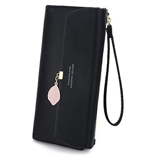 UTO Wallet for Women PU Leather Leaf Pendant Card Holder Phone Checkbook Organizer Zipper Coin Purse