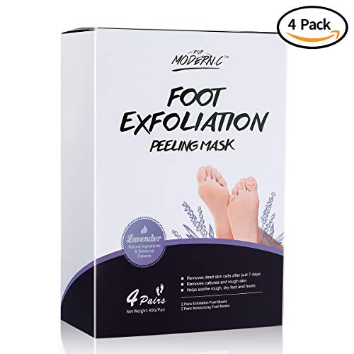 4 Pairs Exfoliating Foot Peeling Masks 2 Pairs+ Moisturizing Foot Masks 2 Pairs for Callus Dead Skin, Soft Feet in 1-2 Week, Foot Peel Mask Repair Rough Heels for Men Women Christmas Gift (Lavender)