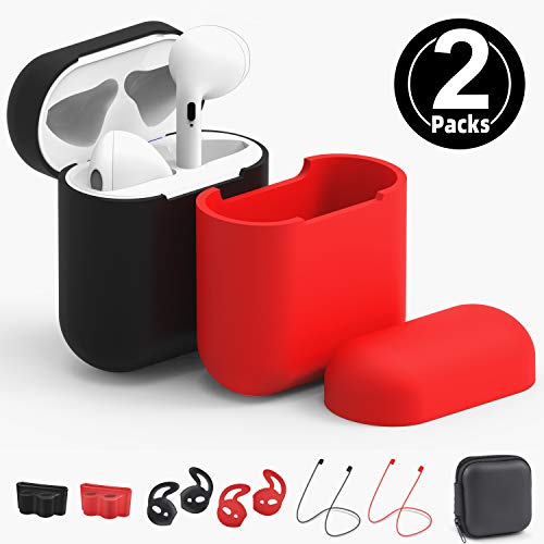 Airpods Case Cover Update, 2 Packs Airpods Skin for Apple Airpods 1 & 2 Wireless Charging Case,RTAKO AirPods Case Protective Cover Silicone Skin Waterproof Airpods Accessories 9 in 1 (Red & Black)