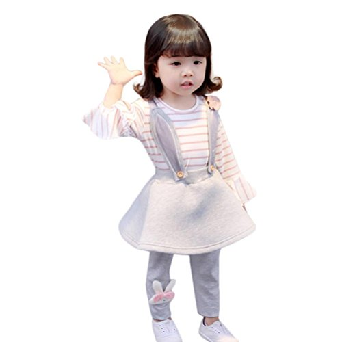 Mode Motorcycle Pants (YJM Moda Cute Toddler Baby Girl Stripe Rabbit Flower Long Sleeve Princess Strap Dress (24M, Pink))