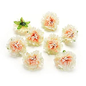 Fake flower heads in Bulk Wholesale for Crafts Peony Flower Head Silk Artificial Flowers for Wedding Decoration DIY Party Home Decor Decorative Wreath Fake Flowers 30 Pieces 4.5cm (Champagne) 51