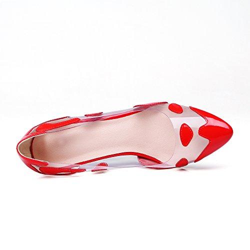 Nueve siete piel auténtica de las mujeres señaló Toe zapatos de bomba de mano transparente corte tacón alto Red