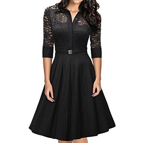 Sue&Joe Women's Cocktail Dress Vintage 1950s Style 3/4 Sleeve Lace A-line Dress, Black, TagsizeXL=USsize8 -