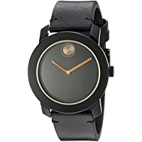 Movado Bold 42mm Black Leather Strap Stainless Steel Men's Quartz Watch