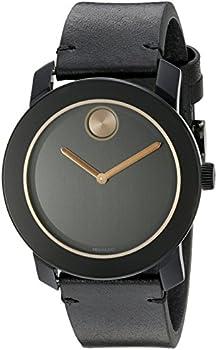 Movado Bold 42mm Black Leather Strap Men's Watch