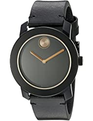 Movado Mens 3600297 Stainless Steel Watch with Black Leather Band
