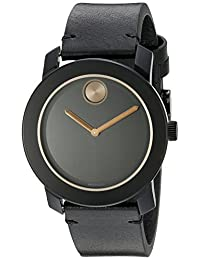 Movado Men's 3600297 Stainless Steel Watch with Black Leather Band