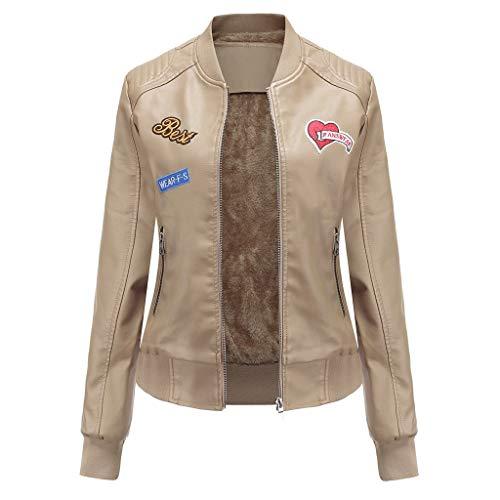 ♫Loosebee♫ Women Classic Baseball Round Collar Short Coat Light Plush Leather Jacket Zipper Overcoat Pocket Outwear