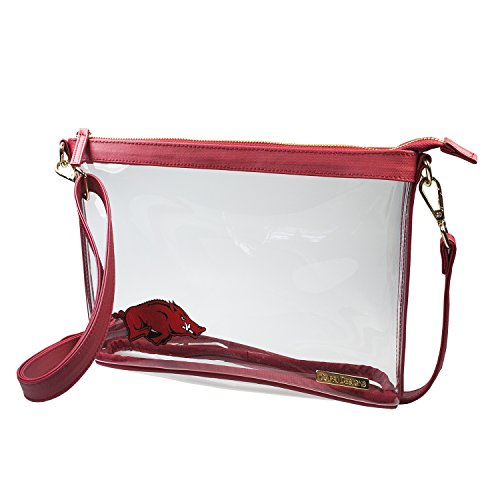 University of Arkansas Razorbacks Capri Designs Clearly Fashion Licensed Clear Large Crossbody Meets Stadium Requirements (Razorback Stadium)