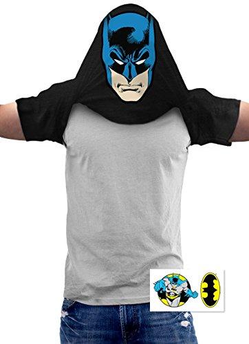 Batman Pullover Flip DC Comics T Shirt & Exclusive Stickers (Pullover Men T Shirt)