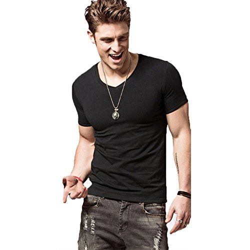 ZUEVI Men's V Neck T-Shirts Cotton Slim Fit Athletic Bodybuilding Short Sleeve (VBlack-XL) ()