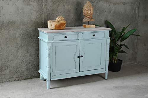 Sunset Trading CC-CAB1296TLD-SBLW Shabby Chic Cottage Buffet Cabinet, Sky blue, Limewash