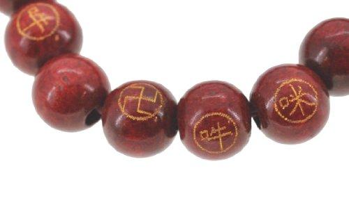 Tibetan Red Wood Om Mani Padma Hum Elastic Cord Wrist Mala Bracelet Prayer Beads