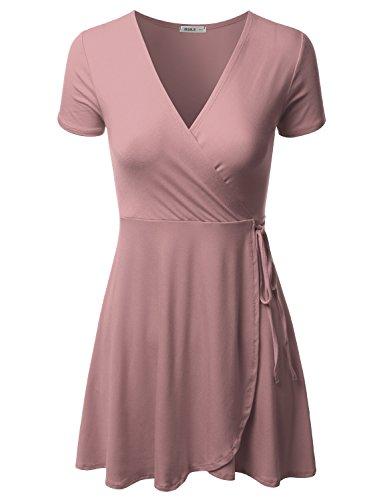 Doublju Short Sleeve Surplice Wrap A-Line Dress for Women with Plus Size ANTIQUEMAUVE 2XL (Wrap Tie Dress)