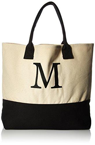 Kate Aspen, Monogram Tote Bag, Canvas, Classic Black and White, M