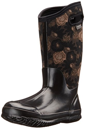Bogs Women's Classic Watercolor Tall Winter Snow Boot,Black/Multi,8 M US