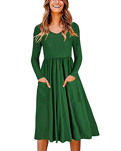 - MISSLOOK Women's Long Sleeve Dress T Shirt Swing Dresses Casual Flare Midi Dress with Pockets - Green S