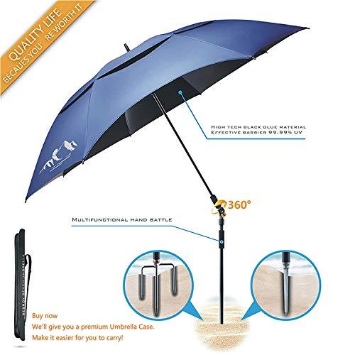 BESROY Portable Sun Beach Umbrella,Carbon Fiber Umbrella Rod,New Black Glue,Anti Ultraviolet,Quick Installation,360° Arbitrary Rotating,Used in Beaches, Pools, terraces, Parks, Tours